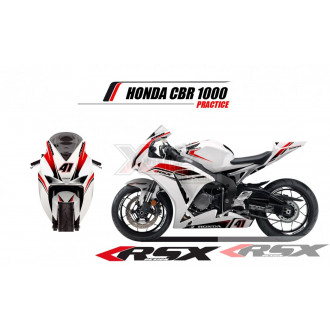 RSX kit déco racing HONDA CBR1000 PRACTICE base blanc 08-11