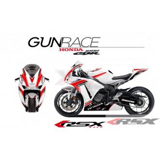 RSX kit déco racing HONDA CBR1000 GUNRACE base blanc 08-11