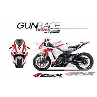 RSX kit déco racing HONDA CBR1000 GUNRACE base blanc 08-11