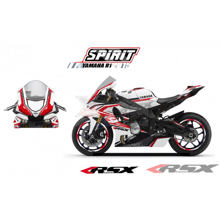 RSX kit déco racing YAMAHA R1 SPIRIT base blanc 15-