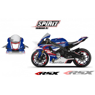 RSX kit déco racing YAMAHA R1 SPIRIT base bleu 15-