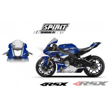 RSX kit déco racing YAMAHA R1 SPIRIT Metal base bleu 15-