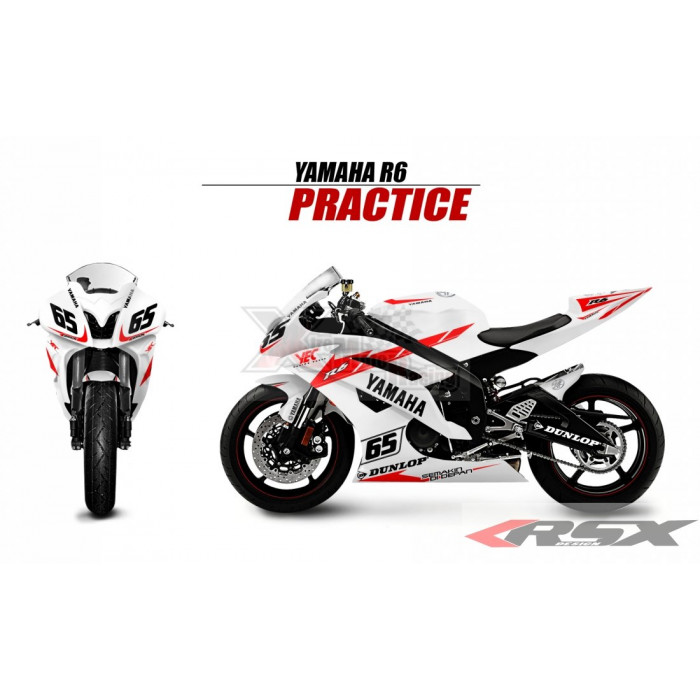 RSX kit déco racing YAMAHA R6 PRACTICE base blanc 08-