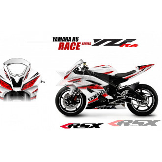 RSX kit déco racing YAMAHA R6 RACE base blanc 08-