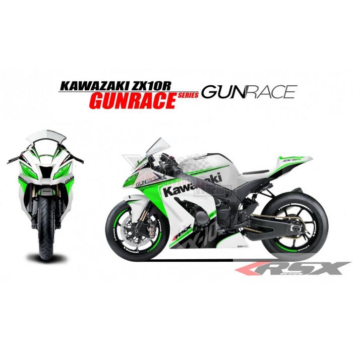 RSX kit déco racing KAWASAKI ZX10R GUNRACE base blanc 11-