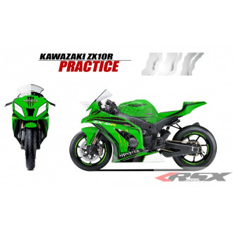 RSX kit déco racing KAWASAKI ZX10R PRACTICE base blanc 11-
