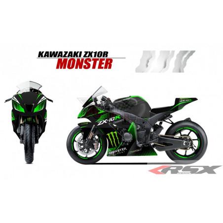 RSX kit déco racing KAWASAKI ZX10R MONSTER base noir 11-