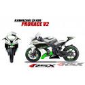 RSX kit déco racing KAWASAKI ZX10R PRORACE base blanc V2 11-