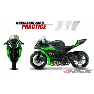 RSX kit déco racing KAWASAKI ZX6R PRACTICE base noir 13-