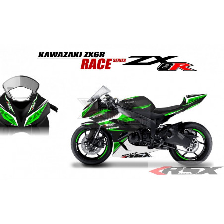 RSX kit déco racing KAWASAKI ZX6R RACE base noir 09-15