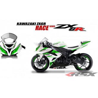 RSX kit déco racing KAWASAKI ZX6R RACE base blanc 09-15