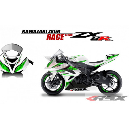 RSX kit déco racing KAWASAKI ZX6R 636 RACE base blanc 13-