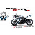 RSX kit déco racing KAWASAKI ZX6R RACE base blanc 13-