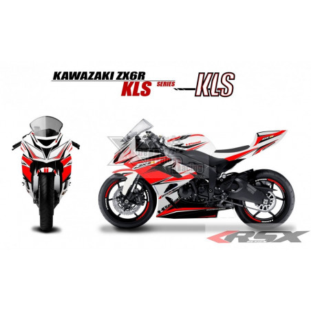 RSX kit déco racing KAWASAKI ZX6R KLS base blanc 09-15