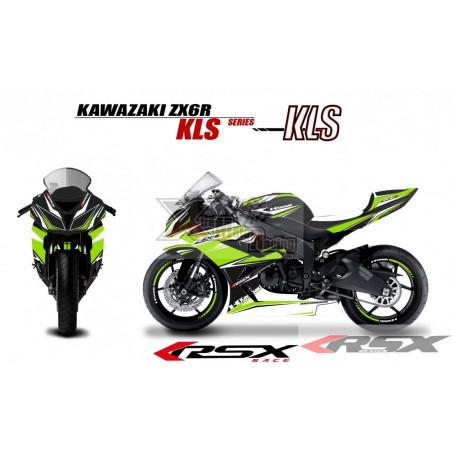 RSX kit déco racing KAWASAKI ZX6R 636 KLS base noir13-