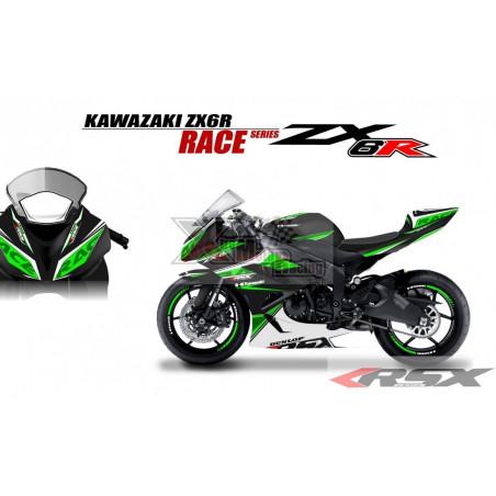 RSX kit déco racing KAWASAKI ZX6R 636 RACE base noir 13-