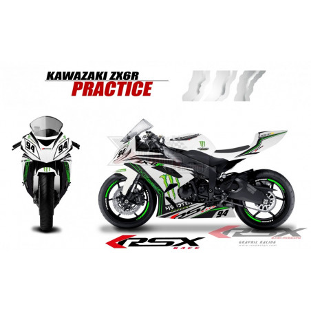 RSX kit déco racing KAWASAKI ZX6R PRACTICE base blanc 09-15