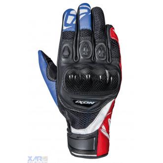 IXON RS RECON AIR gant ete cuir/textile H NOIR / BLEU / BLANC / ROUGE