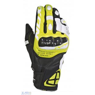 IXON RS RING gant ete cuir/textile H NOIR / BLANC / JAUNE VIF