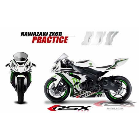 RSX kit déco racing KAWASAKI ZX6R 636 PRACTICE base blanc 13-